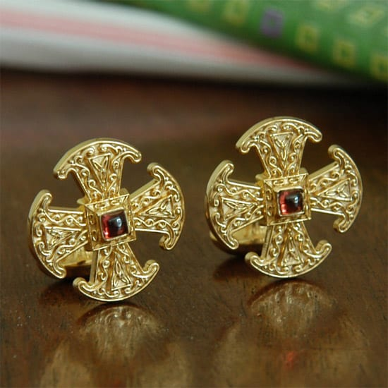 gold christian jewelry, canterbury cross, cuff link, mens jewelry, gold jewelry, handcrafted jewelry