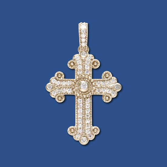 Greek Diamond Budded Cross
