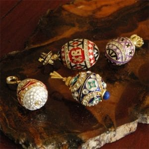 Russian Enameled Egg Pendants