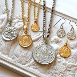 Coin jewelry, ancient coins, jewelry, gold jewelry, sterling silver, gold, handcrafted jewelry, gallery byzantium, alexander the great, byzantine, ancient greece, ancient rome