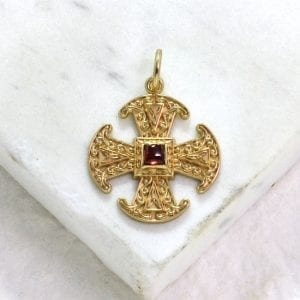 Canterbury cross gold pendant