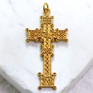 gold celtic cross necklace
