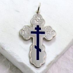 Orthodox cross pendant, symbols faith