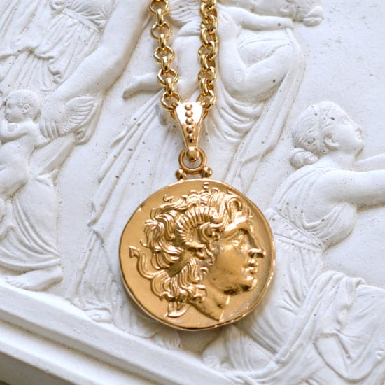 Alexander the great, coin jewelry, ancient coin, gold necklace, greece, ancient greece, gold coin, history