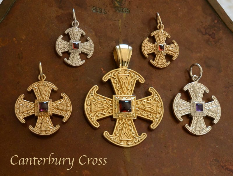 canterbury cross, canterbury, anglican cross, sterling silver, gold, cross necklace, handcrafted jewelry, canterbury cathedral