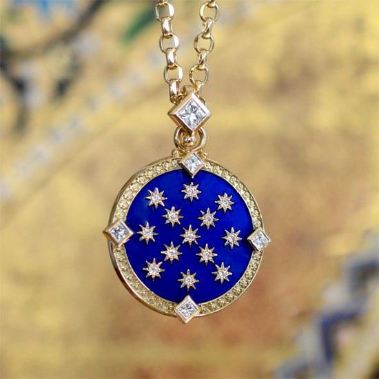 Celestial Fire Pendant Celestial Jewelry Diamond Necklace