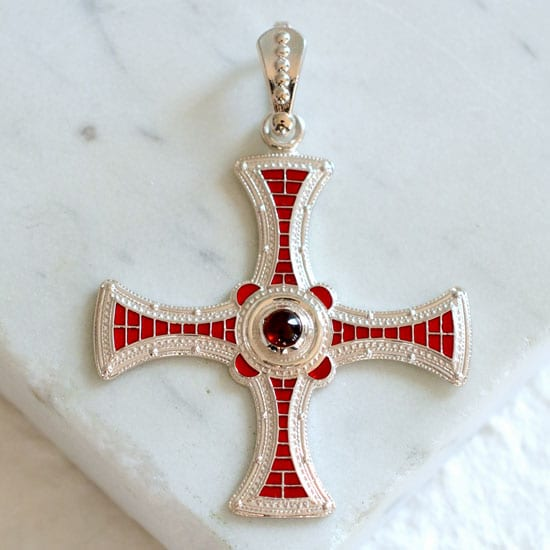 St Cuthbert Cross Sterling Silver Cross Byzantine Cross