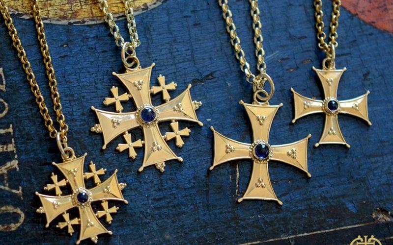 Sapphire Byzantine Jerusalem Christian Cross