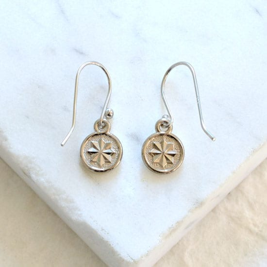 rosette dangle earrings